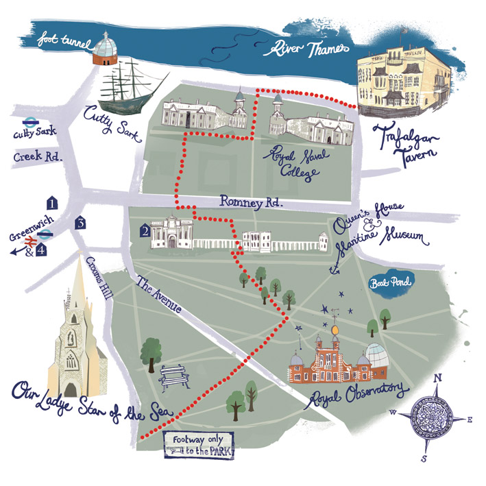 Map of Greenwich, to direct wedding guests! Private commission