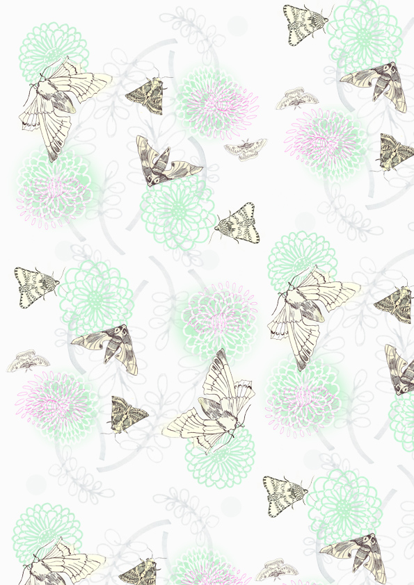 Wallpaper design - Moth Mainichi pattern