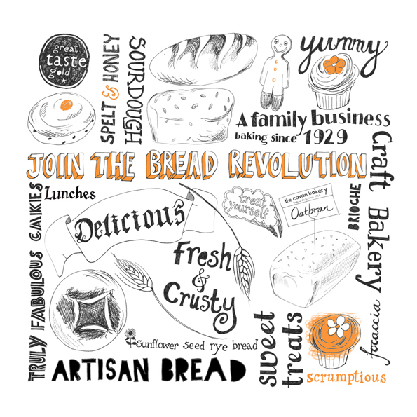 Hand Lettering, biscuits, bread and cakes!