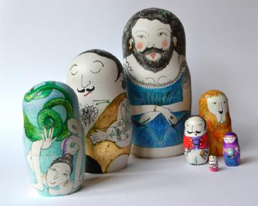 Circus people - Illustrated Russian doll set